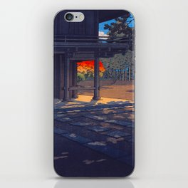 Vintage Japanese Woodblock Print Colorful Fall Trees Shinto Shrine Japanese Architecture iPhone Skin