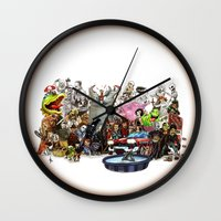 horror Wall Clocks featuring the horror....THE HORROR by poopsmoothie