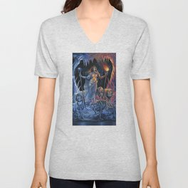 Two of Wands - Woman & Wolves Unisex V-Neck