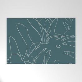 Monstera No2 Teal Welcome Mat