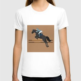 Jumping Black Horse and a Man T-shirt