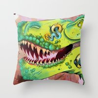 sci fi Throw Pillows featuring Sci-fi Dinosaur. by Rachel Alderson