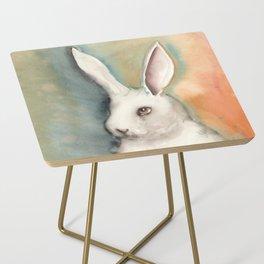 Portrait of a White Rabbit Side Table