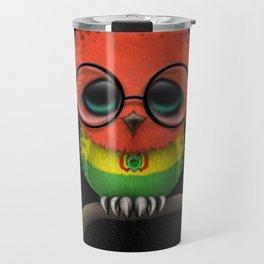 Baby Owl with Glasses and Bolivian Flag Travel Mug