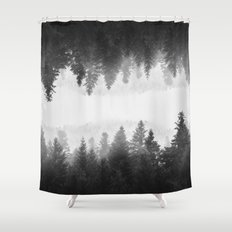 Black and white foggy mirrored forest Shower Curtain