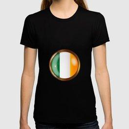 Irish Proud Flag Button T-shirt