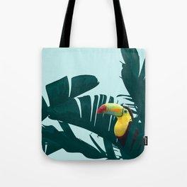 Green Toucan Tropical Banana Leaves Pattern Tote Bag
