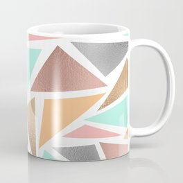 Modern Rose Gold Mint Metallic Triangles Geometric Coffee Mug