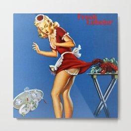 Fresh Lobster! - Satirical Pin Up Girl Waitress Motif Metal Print