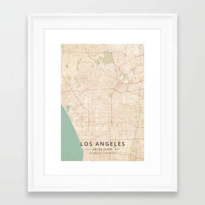 Los Angeles, United States - Vintage Map Framed Art Print