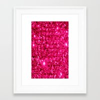 sparkle Framed Art Prints featuring SparklE Hot Pink by 2sweet4words Designs