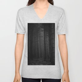 The Dense & Foggy Forest (Black and White) Unisex V-Neck