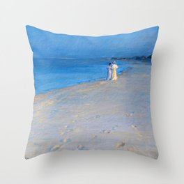 Summer Evening At The South Beach, Skagen - Digital Remastered Edition Throw Pillow