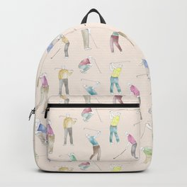 Watercolor Golfers // Antique White Backpack