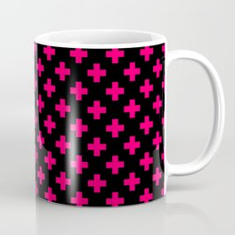 Hot Neon Pink Crosses on Black Coffee Mug