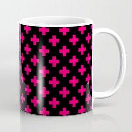 Hot Neon Pink Crosses on Black Coffee Mug