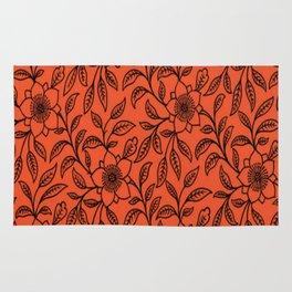Vintage Lace Floral Flame Rug