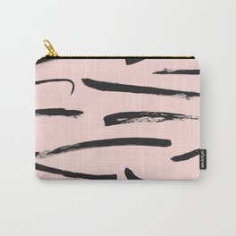 Minimalist Girly Black Pink Brushstrokes Art Carry-All Pouch
