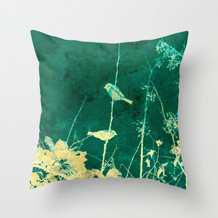 Yellow Birds on Vine Throw Pillow