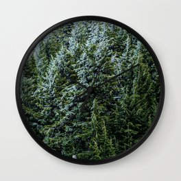 Dense Wilderness Pines // Dark Blue and Green Forest of Evergreen Pinetrees Wall Clock