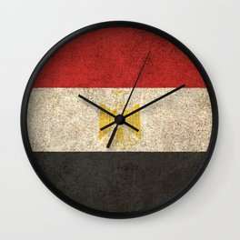 Old and Worn Distressed Vintage Flag of Egypt Wall Clock