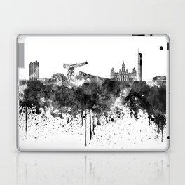 Glasgow skyline in black watercolor Laptop & iPad Skin