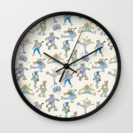 The Wildcats; Retro Rollerskating Illustration Wall Clock