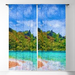 Pacific Isles, A Landscape Painting by Jeanpaul Ferro Blackout Curtain