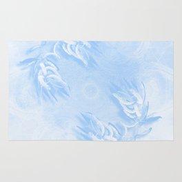 Delicate wattle bouquet in blue Rug
