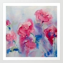 Roses in watercolor Art Print