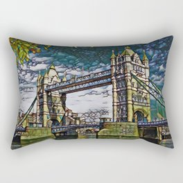 Uk Bridge Artistic Illustration Broken Green Glass Style Rectangular Pillow
