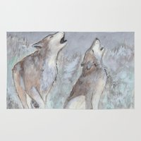 wolves Area & Throw Rugs featuring Wolves by Jen Hallbrown