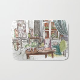 Will and Grace - Grace Adler Designs Studio Watercolor Painting Bath Mat