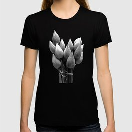 Black and White Lotus Buds T-shirt