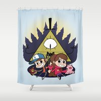 gravity falls Shower Curtains featuring Gravity Falls by Matt Tichenor