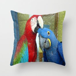 Red and Blue Macaws Crackle Print Throw Pillow