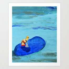 Girl Feeding Dolphin Art Print