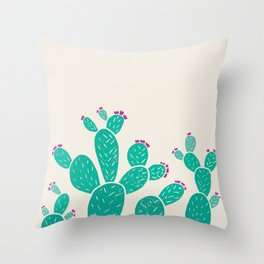 Blooming Prickly Pears Throw Pillow