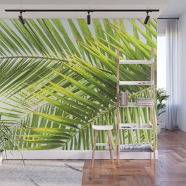 Palm leaves tropical illustration Wall Mural