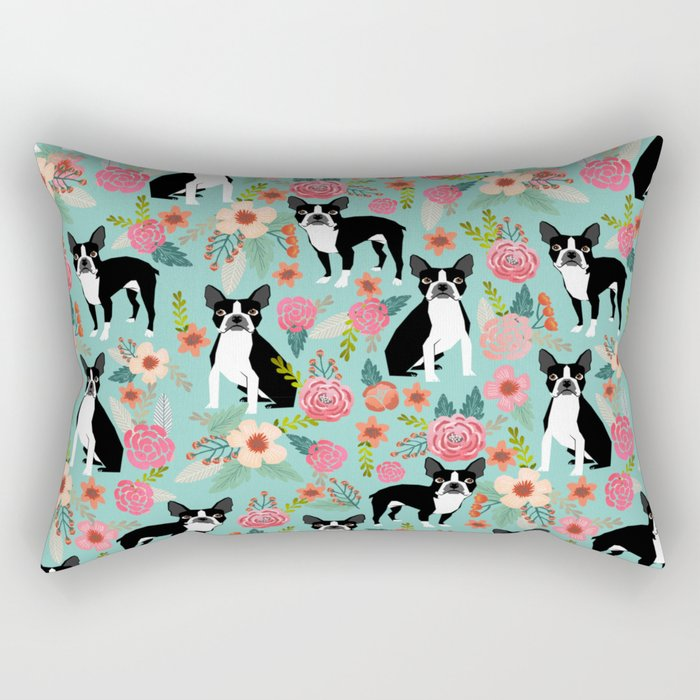 Floral Boston Terrier cute flowers spring bouquet love valentines day black and white mint dogs Rectangular Pillow