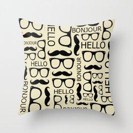 Hello, Bonjour Throw Pillow