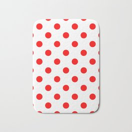 Polka Dots - Red on White Bath Mat