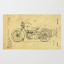 Motorcycle Support Patent Drawing From 1925 Rug