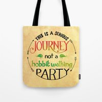 the hobbit Tote Bags featuring Hobbit Party by Purrito Press
