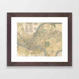 Vintage Map of Pittsburgh PA (1891) Framed Art Print