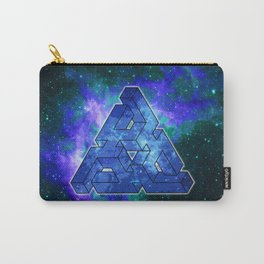 Triangle Blue Space With Nebula Carry-All Pouch