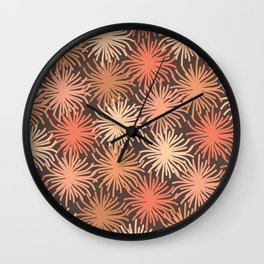Anemone Pattern in Blush and Cocoa Wall Clock