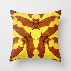 Geometric Bat Pattern - Golden version Throw Pillow