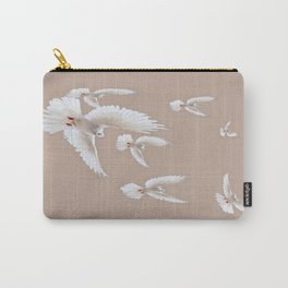 Flight of white Peace Doves In Bieige sky Carry-All Pouch