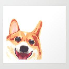 Peek-a-Boo Corgi Art Print